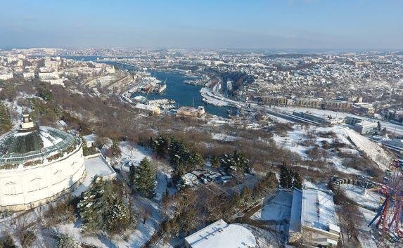 Снежный Севастополь с высоты птичьего полёта (фото)